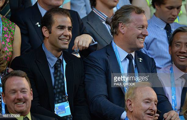 US tennis great Pete Sampras sits behind Australian tennis legend Rod Laver as Rafael Nadal of Spain gets set to play Stanislas Wawrinka of...