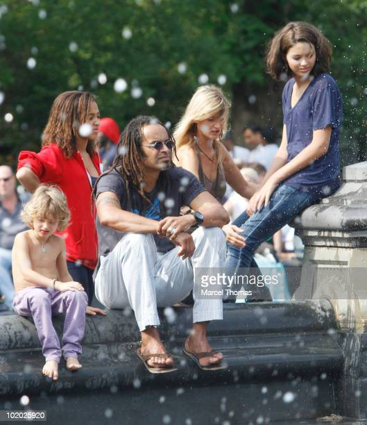 Tennis great Yannick Noah and wife Isabelle Camus are seen with kids Elyjah, Jenaye and Joalukas Noah in Washington Square Park on June 12, 2010 in...