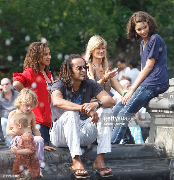 Tennis great Yannick Noah and wife Isabelle Camus are seen with kids Elyjah Jenaye and Joalukas Noah in Washington Square Park on June 12 2010 in New...
