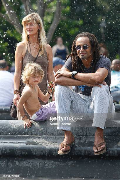 Tennis great Yannick Noah and wife Isabelle Camus are seen with son Joalukas Noah in Washington Square Park on June 12, 2010 in New York, New York.