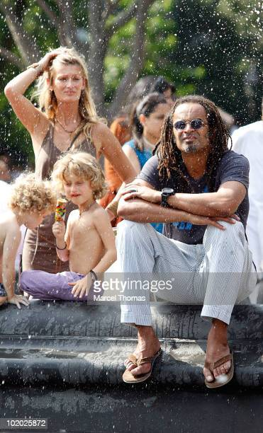 Tennis great Yannick Noah and wife Isabelle Camus are seen with son Joalukas Noah in Washington Square Park on June 12 2010 in New York New York