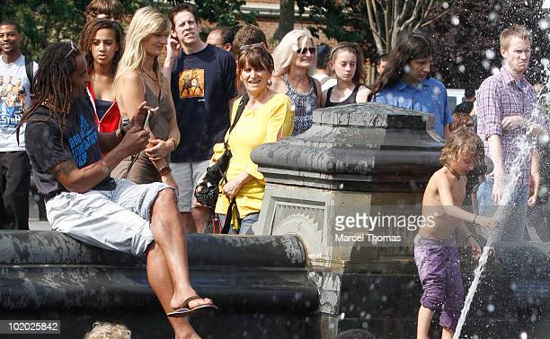 Tennis great Yannick Noah wife Isabelle Camus and kids Elyjah and Joalukas Noah are seen in Washington Square Park on June 12 2010 in New York New...
