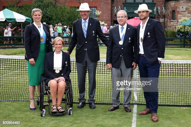 Tennis Hall of Fame inductees Kim Clijsters of Belgium Monique Kalkman van den Bosch of the Netherlands President of the International Tennis Hall of...