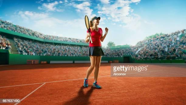 tennis: happy sportswoman - torneo di tennis foto e immagini stock