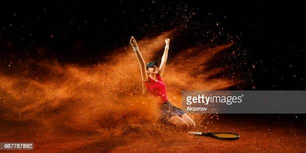 tennis: happy sportswoman - sport set competition round stock photos and pictures