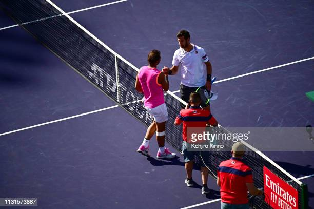 Indian Wells Masters Aerial rear view of Spain Rafael Nadal shaking hands with Swittzerland Roger Federer after Men's Semifinals vs at Indian Wells...