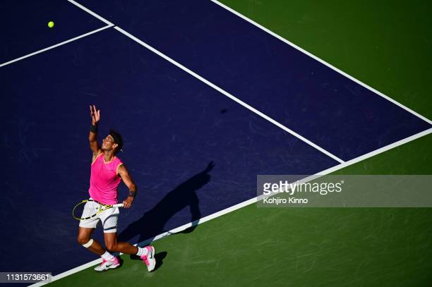 Indian Wells Masters Aerial view of Spain Rafael Nadal in action serving during Men's Semifinals vs Swittzerland Roger Federer at Indian Wells Tennis...