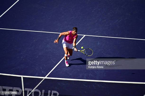 Indian Wells Masters Aerial view of Spain Rafael Nadal in action during Men's Semifinals vs Swittzerland Roger Federer at Indian Wells Tennis Garden...