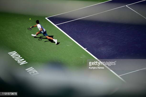 Indian Wells Masters Aerial view of Swittzerland Roger Federer in action vs Spain Rafael Nadal during Men's Semifinals vs at Indian Wells Tennis...