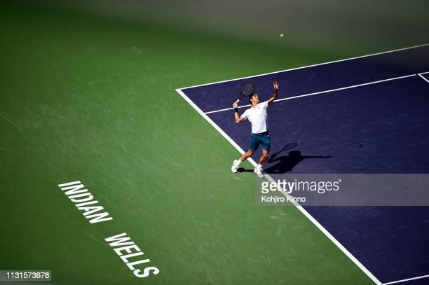 Indian Wells Masters Aerial view of Swittzerland Roger Federer in action serving vs Spain Rafael Nadal during Men's Semifinals vs at Indian Wells...