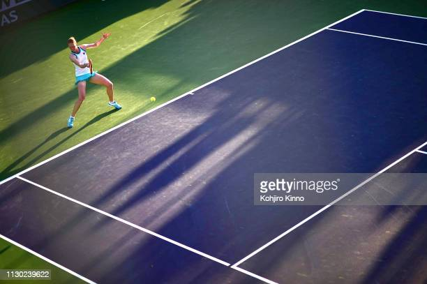 Indian Wells Masters Belgium Alison Van Uytvanck in action vs Switzerland Belinda Bencic during Women's Round of 64 Singles match at Indian Wells...