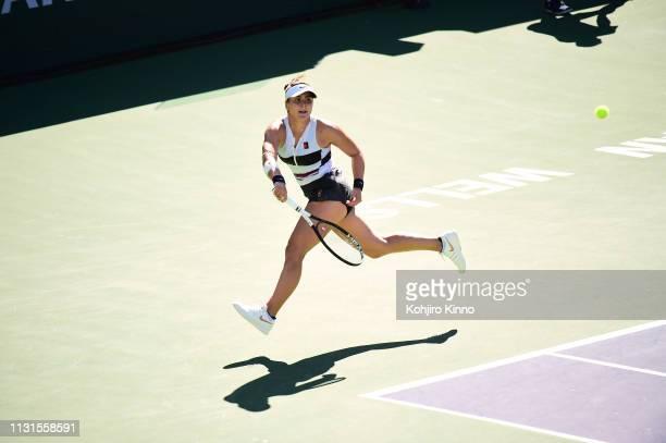 Indian Wells Masters Canada Bianca Andreescu in action vs Germany Angelique Kerber during Women's Finals at Indian Wells Tennis Garden Indian Wells...