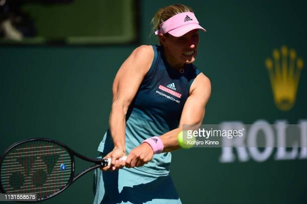 Indian Wells Masters Germany Angelique Kerber in action vs Canada Bianca Andreescu during Women's Finals at Indian Wells Tennis Garden Indian Wells...