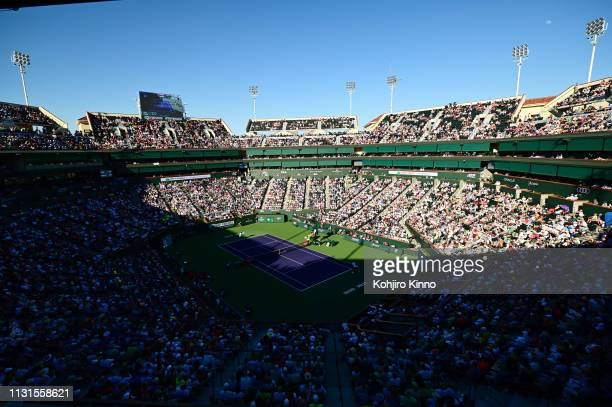 Indian Wells Masters Overall view of Indian Wells Tennis Garden during Australia Domini Thiem in action serving vs Switzerland Roger Federer during...