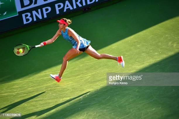 Indian Wells Masters Switzerland Belinda Bencic in action vs Belgium Alison Van Uytvanck during Women's Round of 64 Singles match at Indian Wells...