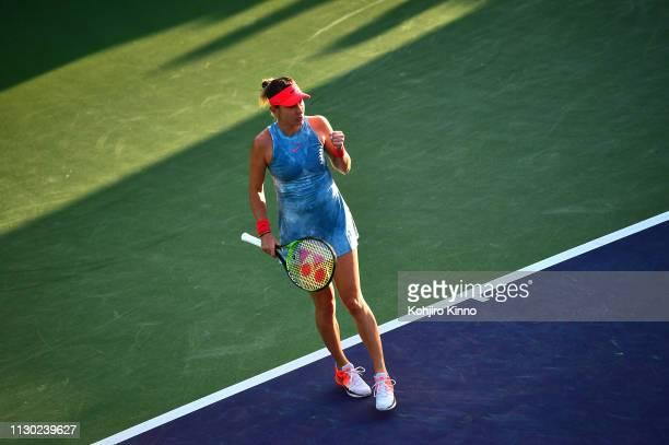 Indian Wells Masters Switzerland Belinda Bencic in action victorious vs Belgium Alison Van Uytvanck during Women's Round of 64 Singles match at...