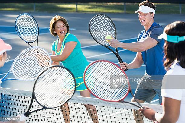 tennis instructor - sports training clinic stock pictures, royalty-free photos & images