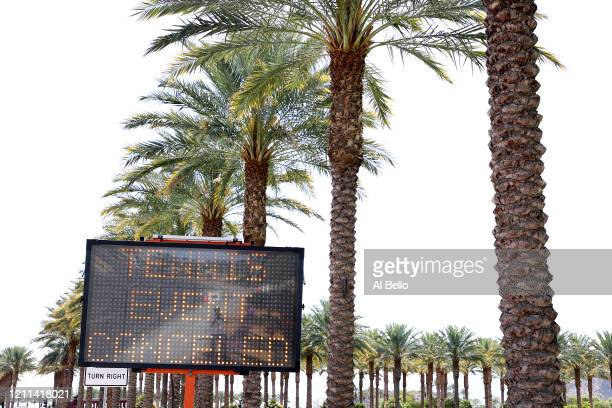 A Tennis Is Cancelled sign flashes outside the Indian Wells Tennis Garden on March 09 2020 in Indian Wells California The BNP Paribas Open was...