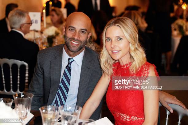 US tennis James Blake and his wife Emily Snider attend a gala event on the sidelines of the 42nd Ryder Cup on September 26 at the Chateau de...