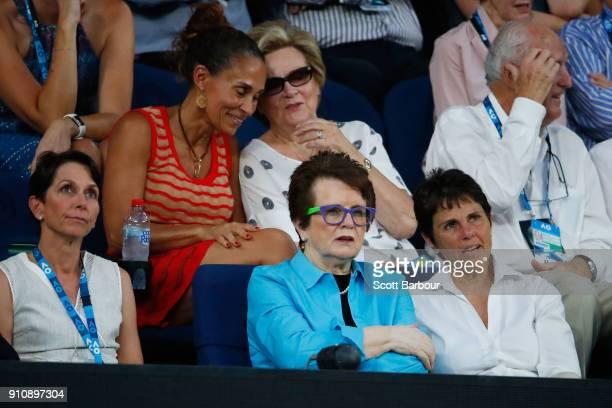 Tennis legend Billie Jean King and her partner Ilana Kloss watch the women's singles final between Caroline Wozniacki of Denmark and Simona Halep of...