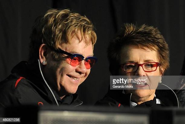 Tennis legend Billie Jean King and singer Sir Elton John smile during the Mylan World TeamTennis VIP reception at ESPN Wide World of Sports Complex...