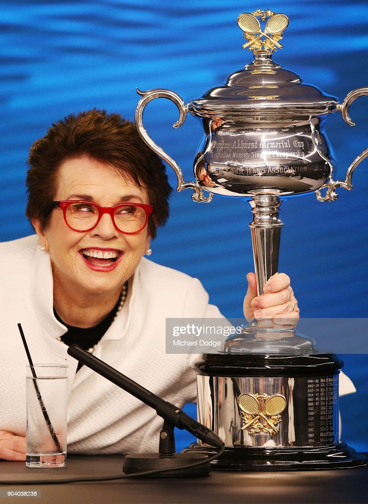 Tennis legend Billie Jean King of the USA poses with the Daphne Akhurst Memorial Trophy for Women during a press conference ahead of the 2018 Australian Open at Melbourne Park on January 12, 2018 in Melbourne, Australia.