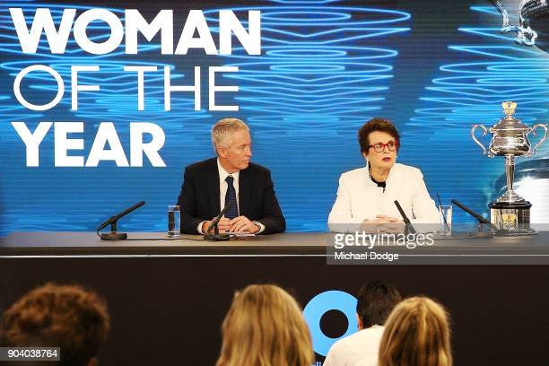 Tennis legend Billie Jean King of the USA speaks to media next to tournament directot Craig Tiley during a press conference ahead of the 2018...