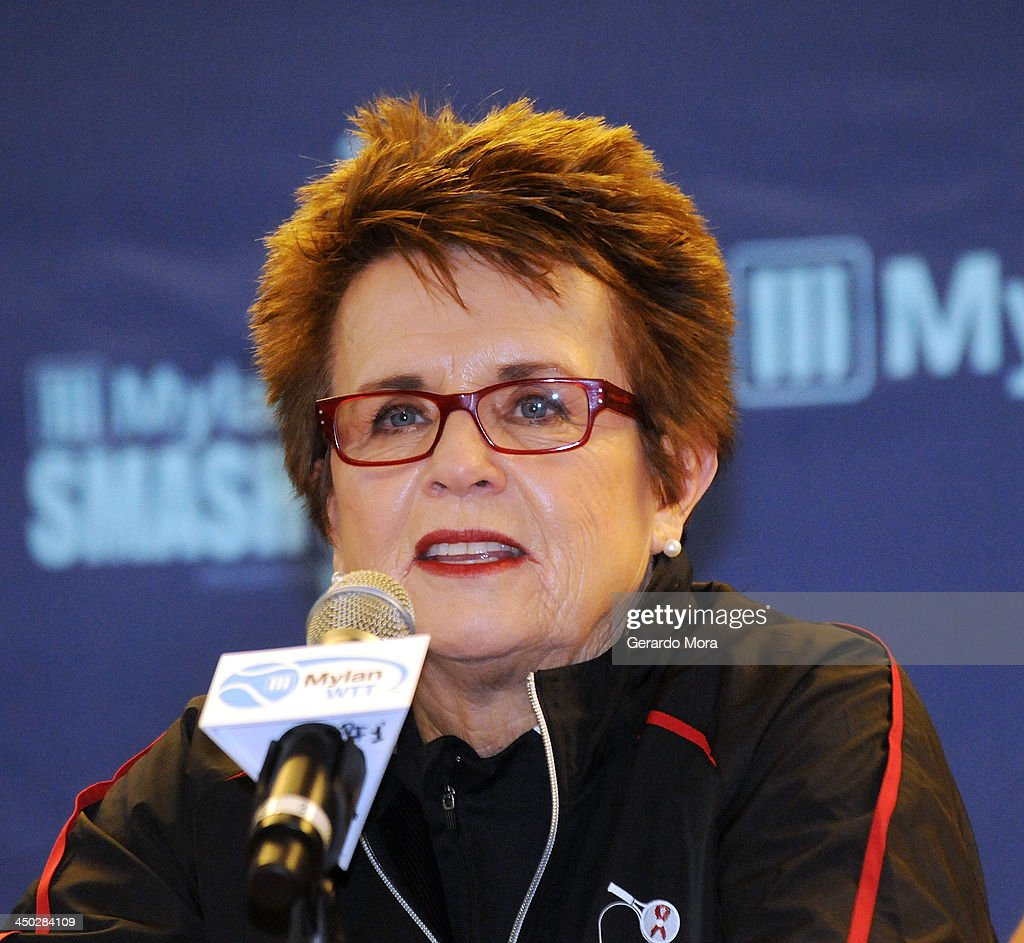 Tennis legend Billie Jean King smiles during the press conference for Mylan World TeamTennis at ESPN Wide World of Sports Complex on November 17, 2013 in Lake Buena Vista, Florida.