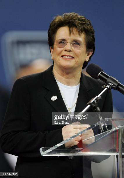 Tennis legend Billie Jean King speaks during the opening ceremony for the US Open at the USTA Billie Jean King National Tennis Center in Flushing...
