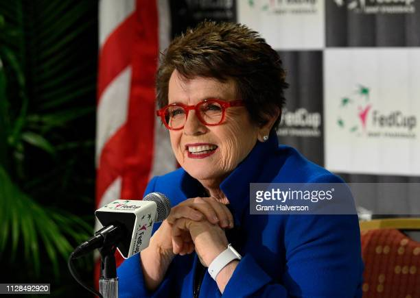 Tennis legend Billie Jean King speaks to the media before a first round 2019 Fed Cup match between the USA and Australia at U.S. Cellular Center on...