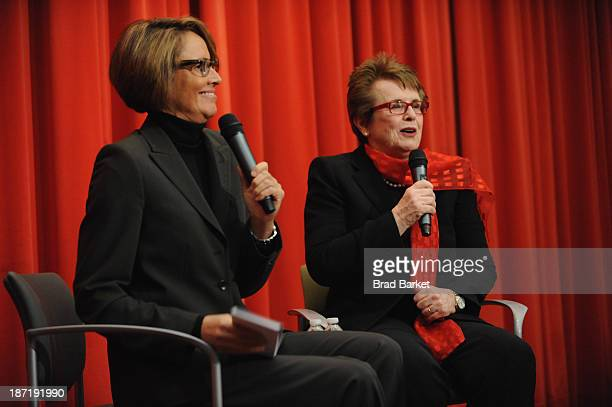 Tennis legend Billie Jean King speaks with sportscaster Mary Carillo during the QA at King's 70th Birthday Party Celebration organized by the Women's...