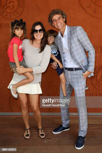 Tennis legend Gustavo Kuerten his wife Marianahis son Luiz Felipe and his daughter Maria Augusta attend the 2018 French Open Day Twelve at Roland...