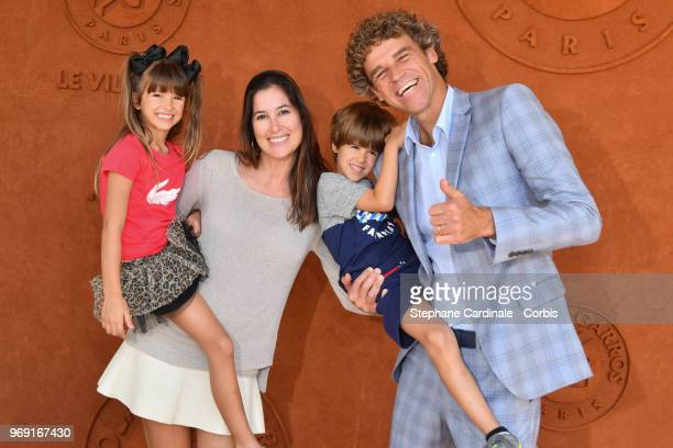 Tennis legend Gustavo Kuerten his wife Mariana,his son Luiz Felipe and his daughter Maria Augusta attend the 2018 French Open - Day Twelve at Roland...