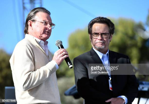 Tennis legend Jimmy Connors appears onstage with Dennis Miller during the One 805 Kick Ash Bash benefiting First Responders at Bella Vista Ranch Polo...