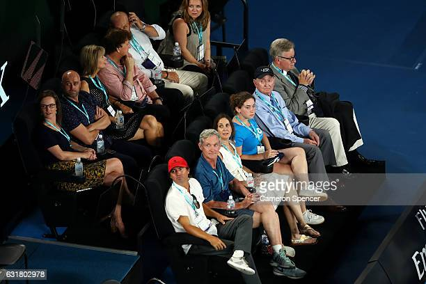 Tennis legend Rod Laver watches courtside during the round one mens match between Jurgen Melzer of Austria and Roger Federer of Switzerland on day...