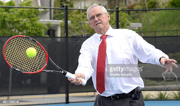 Tennis legend Roy Emerson enjoys a hit out at the opening of the new tennis centre in Brisbane named in his honour during day five of the 2015...