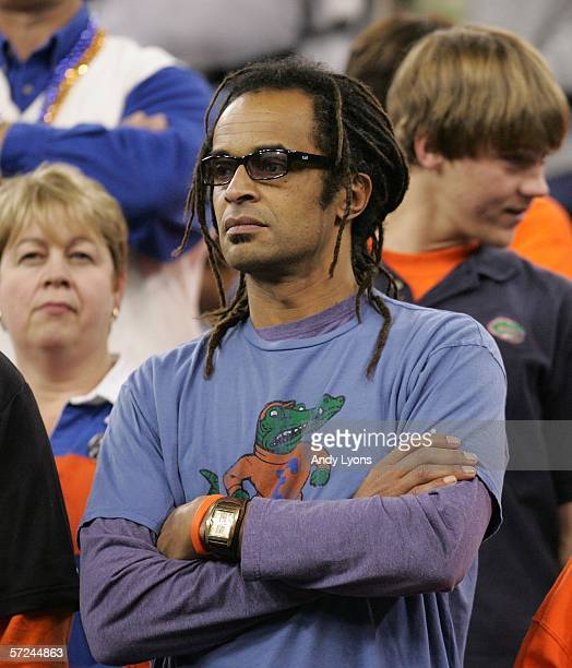 Tennis legend Yannick Noah, father of Joakim Noah of the Florida Gators, looks on before the start of the National Championship game against the UCLA...