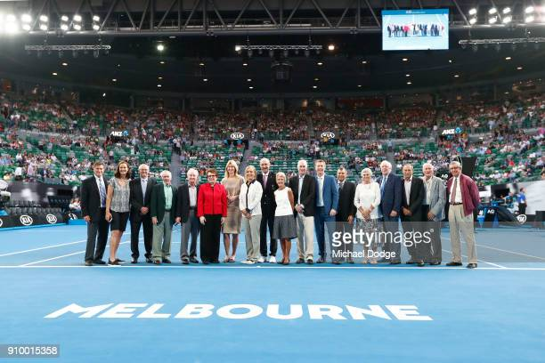 Tennis legends inlcuding Ken Rosewall Rod Laver Billie Jean King Martina Navratilova Frank Sedgman Roy Emerson John Newcombe Neale Fraser and Johan...