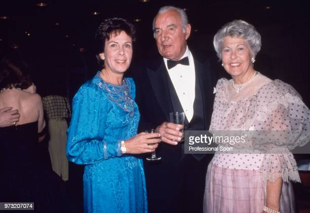 Tennis legends Maria Bueno of Brazil and Fred Perry of Great Britain with Perry's wife Barbara known as Bobby circa 1985