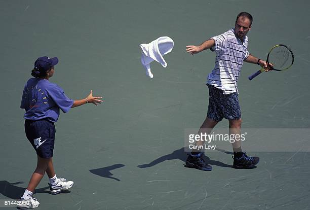 Tennis Lipton Championship Aerial view of USA Andre Agassi during match at Crandon Park Key Biscayne FL 1/1/1995