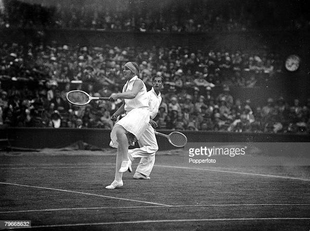 Tennis London England 28th June Miss Betty Nuttall and her mixed doubled partner Bunny Austin in action during their first round match at thhe...