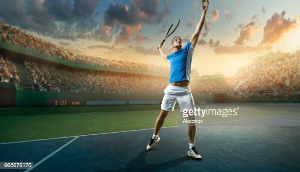 tennis: male sportsman in action - tennis tournament stock pictures, royalty-free photos & images