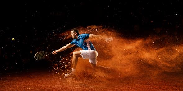 Tennis: Male sportsman in action 666919166