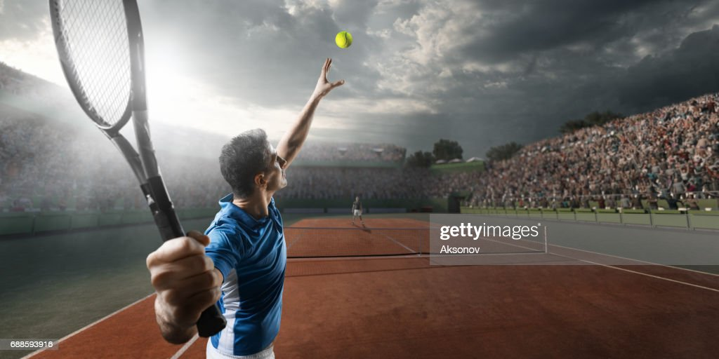Tennis: Männliche Sportler in Aktion : Stock-Foto