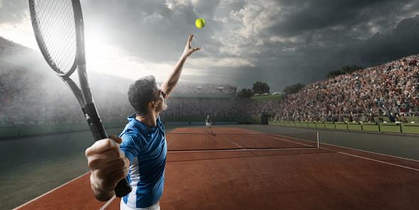 Tennis: Male sportsman in action 688593916
