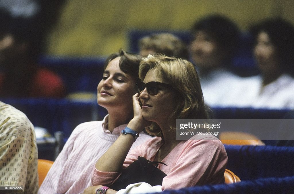 View of Tatum O'Neal, wife of USA John McEnroe watching exhibition match vs Czechoslovakia Ivan Lendl at Los Angeles Forum. Inglewood, CA 7/28/1986
