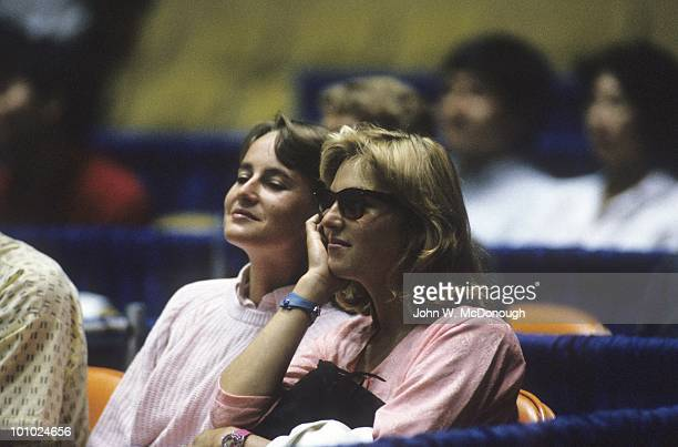 Michelin Challenge Series: View of Tatum O'Neal, wife of USA John McEnroe watching exhibition match vs Czechoslovakia Ivan Lendl at Los Angeles...