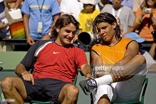Tennis NASDAQ 100 Open Closeup of CHE Roger Federer and ESP Rafael Nadal after finals match before awards ceremony at Crandon Park Key Biscayne FL...