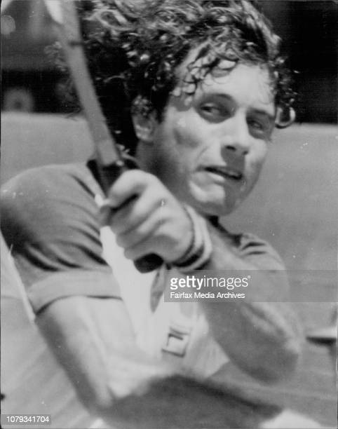 NSW Tennis Open Championship at White CityArgentinian G Vilas Photographed in last minutes of his win over B Drewett Australia December 29 1976