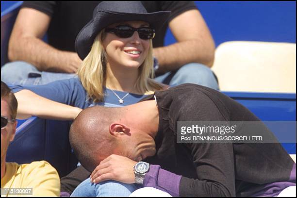 Tennis Open of Monte Carlo in Monaco City Monaco on April 18 2001 Cachou and boyfriend goalkeeper Poratto